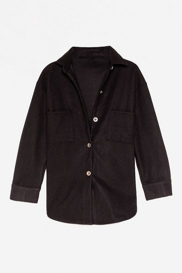 Black Faux Wool It Over Relaxed Shirt Jacket