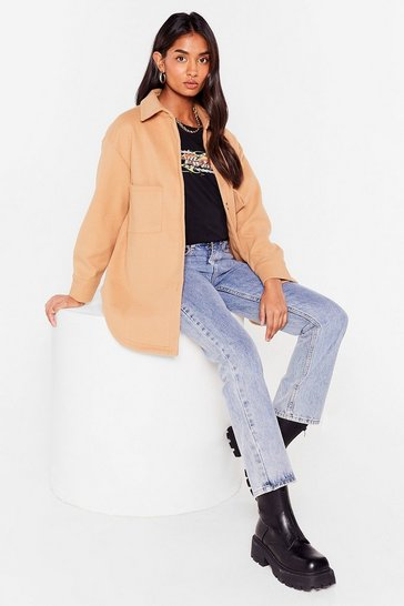 Camel Faux Wool It Over Relaxed Shirt Jacket