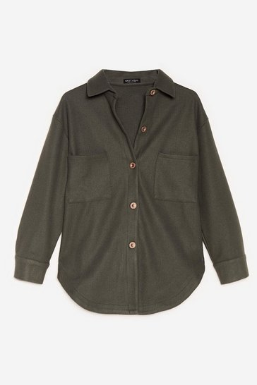 Khaki Faux Wool It Over Relaxed Shirt Jacket