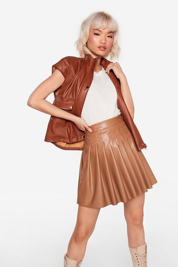 Camel Pleat to Meet You Faux Leather Mini Skirt