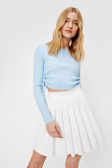 White Faux Leather Pleated High Waisted Mini Skirt