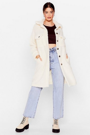 Cream You Faux Fur the One Oversized Jacket