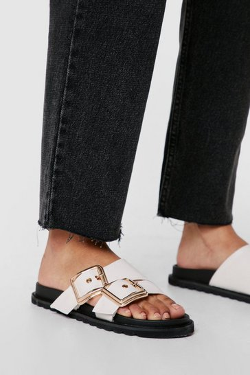 Cream Strappy Faux Leather Buckle Footbed Sandals