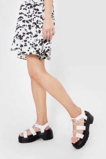 White Strappy Faux Leather Cleated Platform Sandals