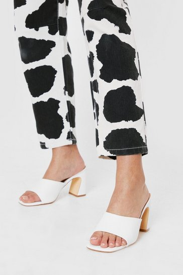 White Faux Leather Open Toe Croc Heeled Mules