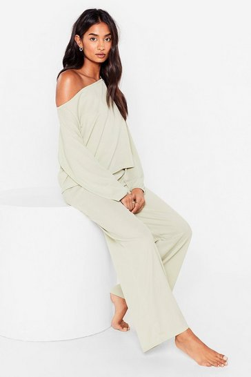 Mint Whatever Back to Bed Wide-Leg Pants Lounge Set