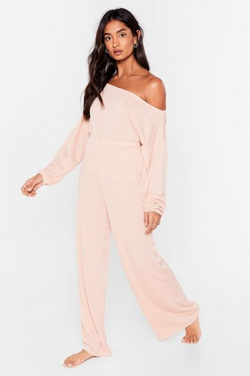 Soft pink Whatever Back to Bed Wide-Leg Pants Lounge Set