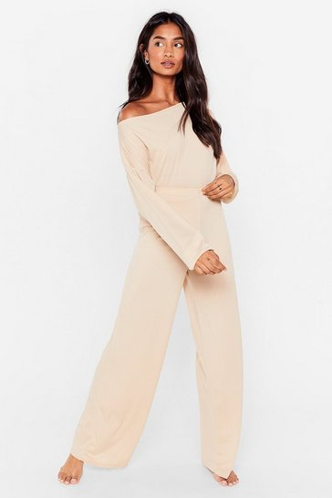 Stone Off The Shoulder Loungewear Set
