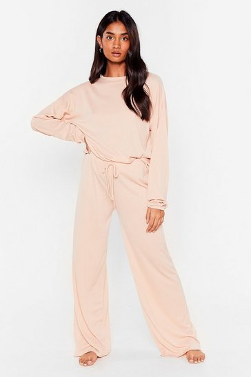 Soft pink Ribbed Top And Wide Leg Trousers Set