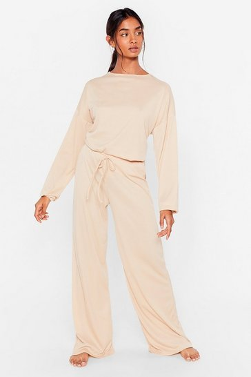 Stone Ribbed Top And Wide Leg Trousers Set