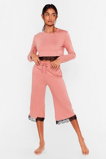 Rose Lace Trim Jersey Culotte Pyjama Set