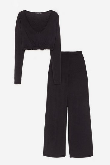 Black Back to Bed Top and Wide-Leg Pants Pajama Set