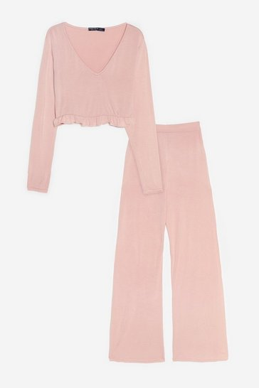 Nude Back to Bed Top and Wide-Leg Pants Pajama Set