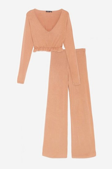 Tan Back to Bed Top and Wide-Leg Pants Pajama Set