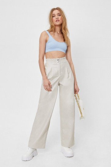 Ecru Faux Leather High Waisted Wide Leg Pants