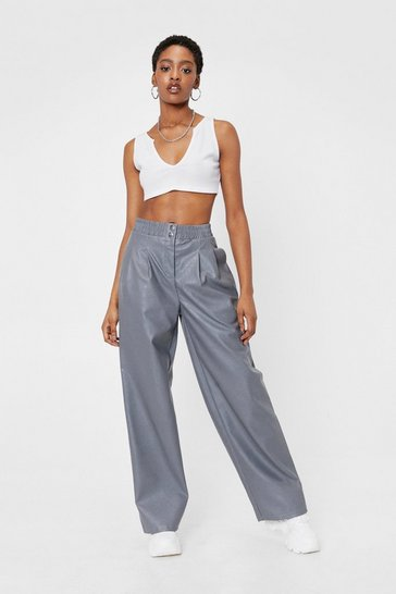 Grey Faux Leather High Waisted Wide Leg Pants