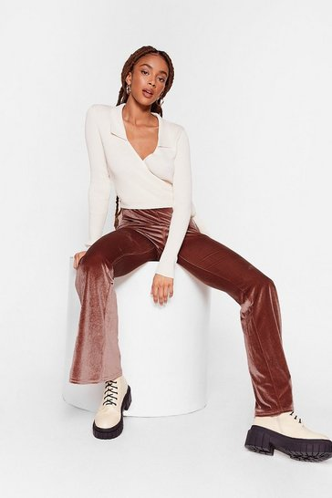 Taupe So Touchy Velvet Flare Pants
