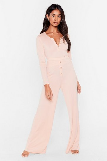Pink Button Top of It Ribbed Wide-Leg Pants Lounge Set