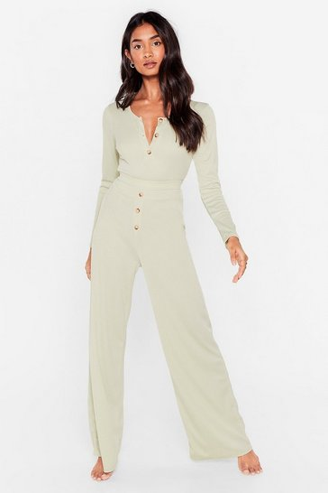 Sage Button Top of It Ribbed Wide-Leg Pants Lounge Set