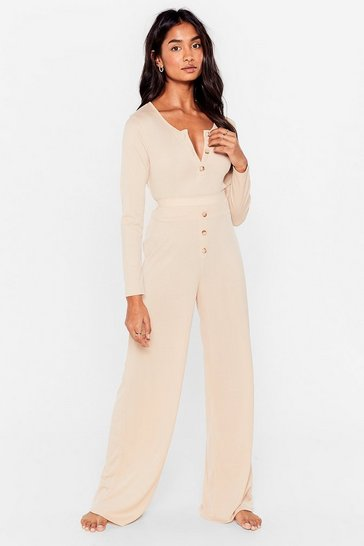 Stone Button Top of It Ribbed Wide-Leg Pants Lounge Set