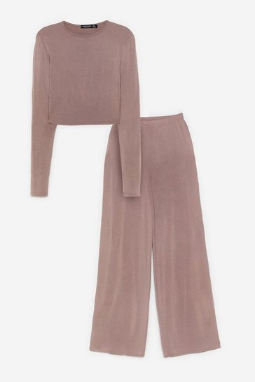 Mocha Sleepover Club Wide-Leg Pajama Pants Set