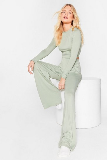 Pyjama crop top & pantalon large Soirée Pyj', Sage