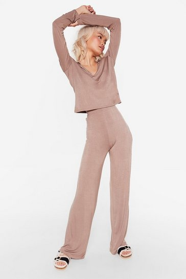 Mocha Collar 'Em Out On It Wide-Leg Pants Pajama Set