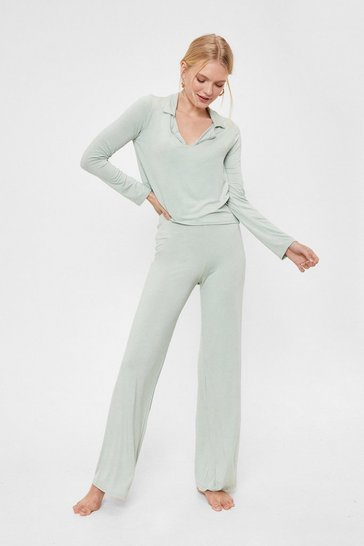 Sage Collar 'Em Out On It Wide-Leg Pants Pajama Set