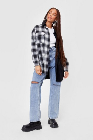 Black Colorblock Oversized Check Shirt