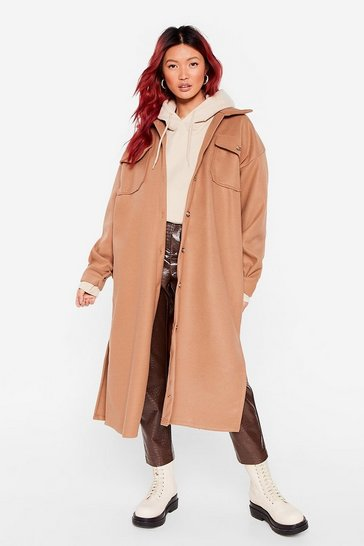 Camel I Wool Love You Longline Faux Wool Jacket