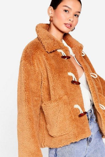 Camel Hot Under the Collar Faux Fur Toggle Jacket