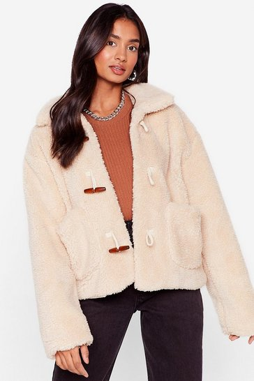 Cream Hot Under the Collar Faux Fur Toggle Jacket