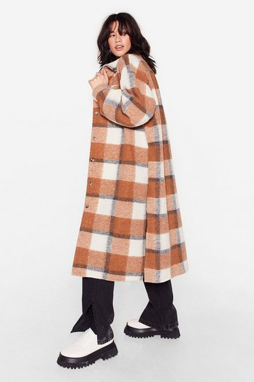 Camel Give Us One Check Longline Shirt Jacket