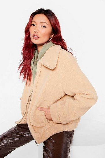 Beige Zip Up Faux Fur Teddy Coat