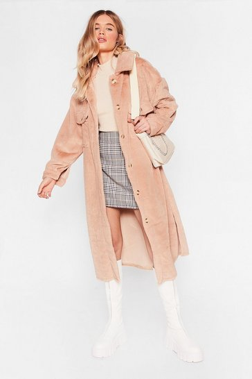 Beige Do It Faux Fur Yourself Longline Shirt Jacket