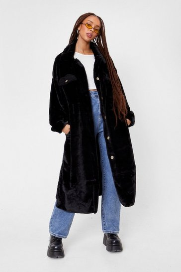 Black Do It Faux Fur Yourself Longline Shirt Jacket