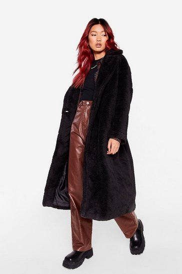 Black Fur Once in My Life Faux Fur Longline Coat