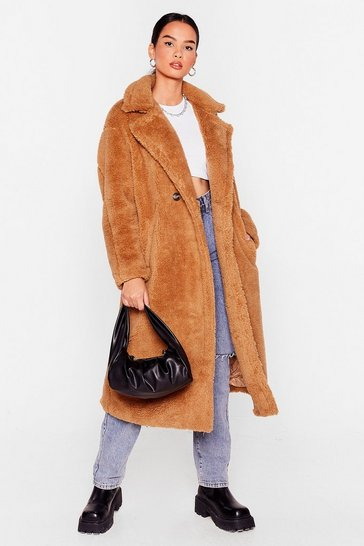 Camel Fur Once in My Life Faux Fur Longline Coat