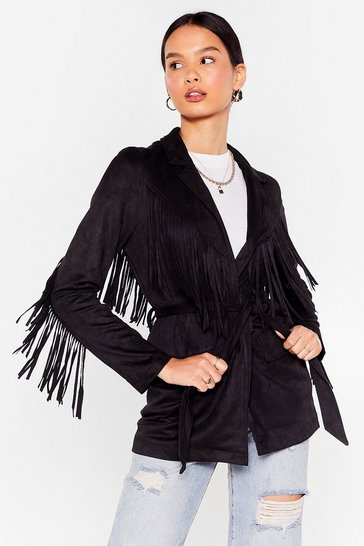 Black Faux Suede Fringe Belted Jacket