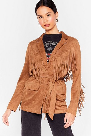 Camel Faux Suede for Eachother Fringe Belted Jacket