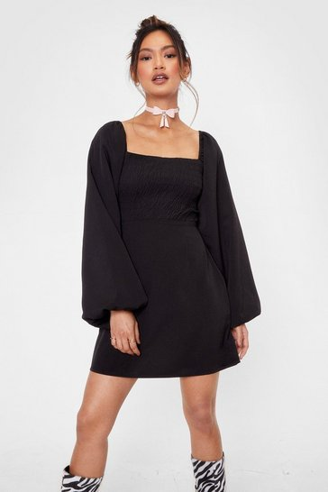 Black Love Me or Puff Sleeve Me Petite Mini Dress