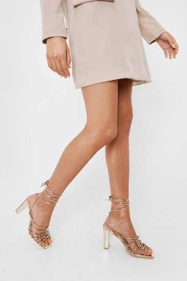 Gold Faux Leather Tie Heeled Sandals