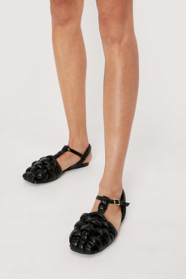 Black Faux Leather Woven Flat Sandals