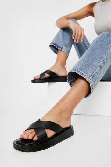 Black Faux Leather Flatform Crossover Slider Sandals