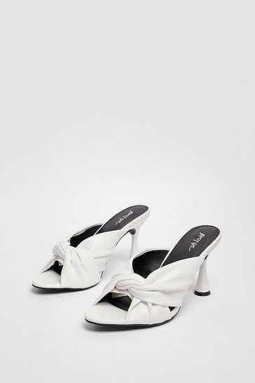 White Faux Leather Twisted Stiletto Heeled Mules