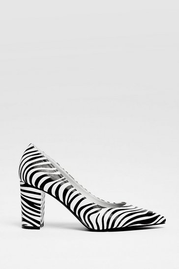 Faux Leather Zebra Heeled Court Shoes