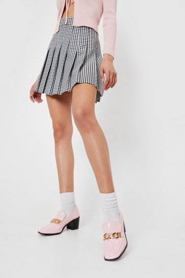 Baby pink Patent Faux Leather Chain Heeled Loafers