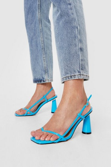 Blue Faux Leather Cone Flare Heeled Sandals