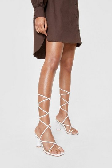 White Faux Leather Strappy Heeled Ball Sandals