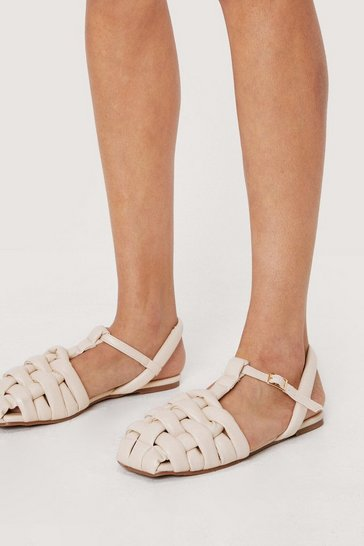 Cream Faux Leather Padded Woven Sandals